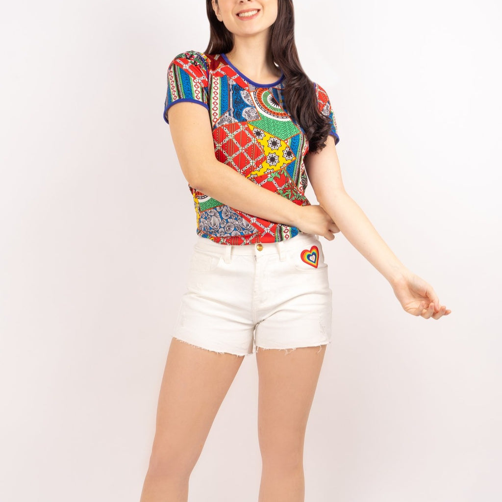 WS ELOISA-WHITE-FRONT 5 Pocket Ripped Denim Shorts with Multicolored Patch on Front Pocket
