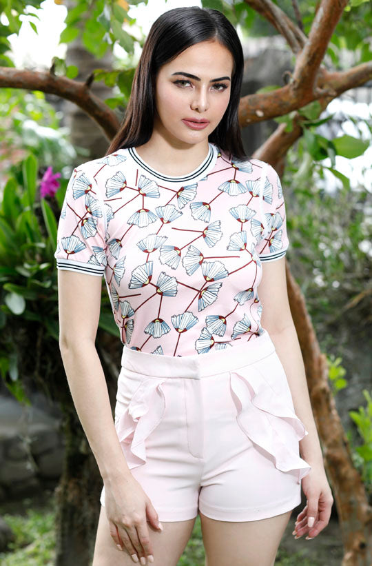 WT-ANNIEA-P.PINK Short sleeves round neck tee with piping combi and flat knit on sleeves