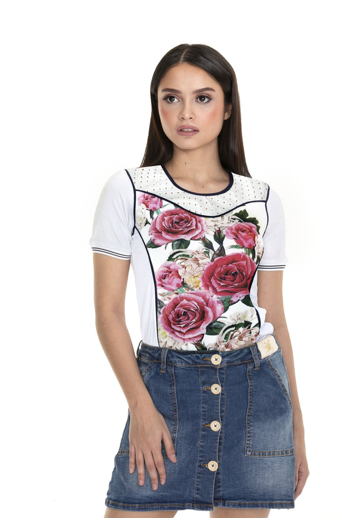WT-ELLIE-FLORALWHITE Short - sleeves round neck tee with print & eyelet combi