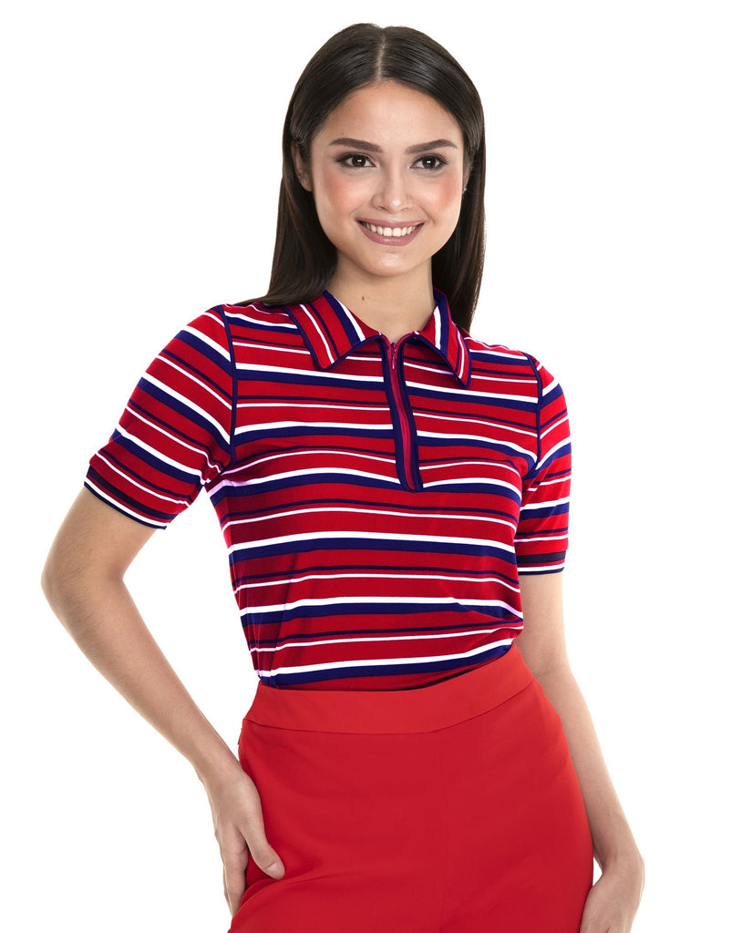 WT-GLYDEL-REDSTRIPES Short - sleeves collared tee with zipper, piping combi and flat knit details on sleeves