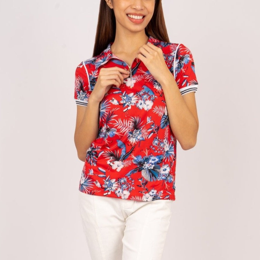 WT-LEXI-FLORALRED-FRONT Short sleeves collared tee with zipper on placket and pocket detail