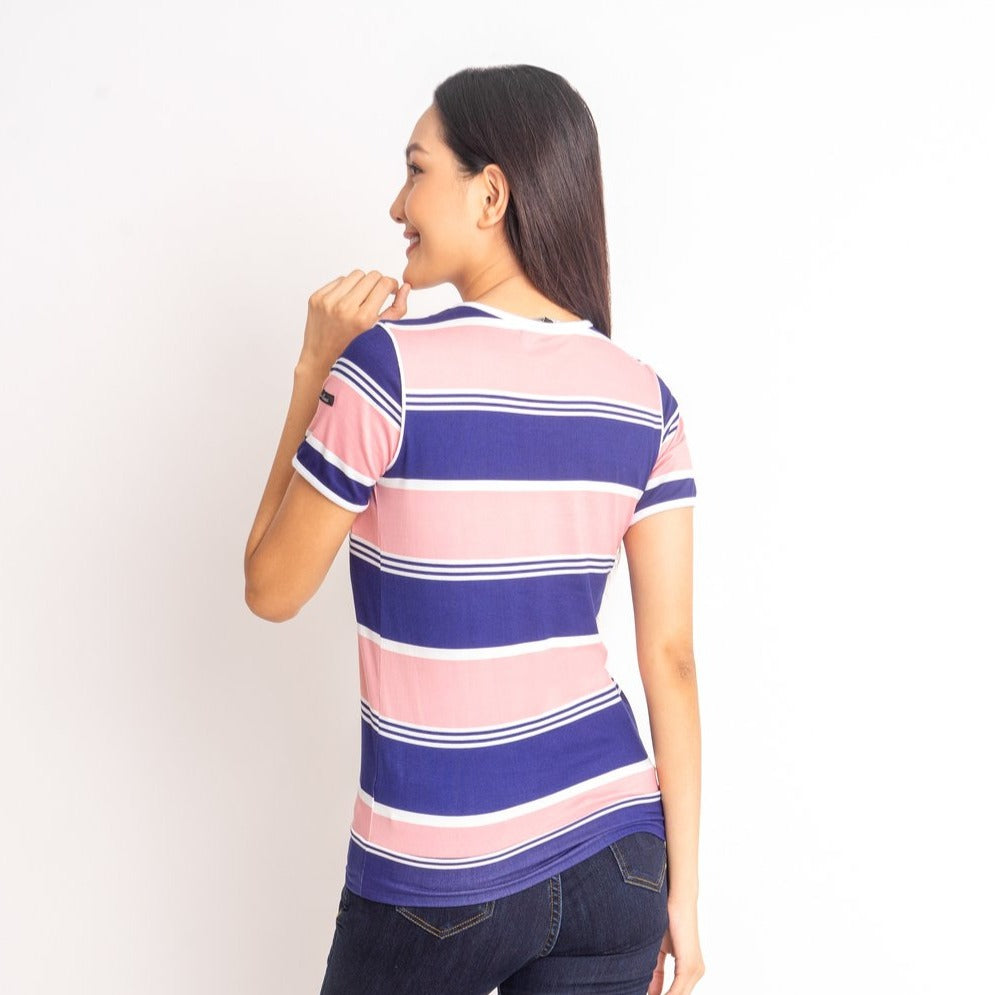 WT-MAISIE-PINK_NAVY-BACK Shorts sleeves round neck tee with piping combi & hemband