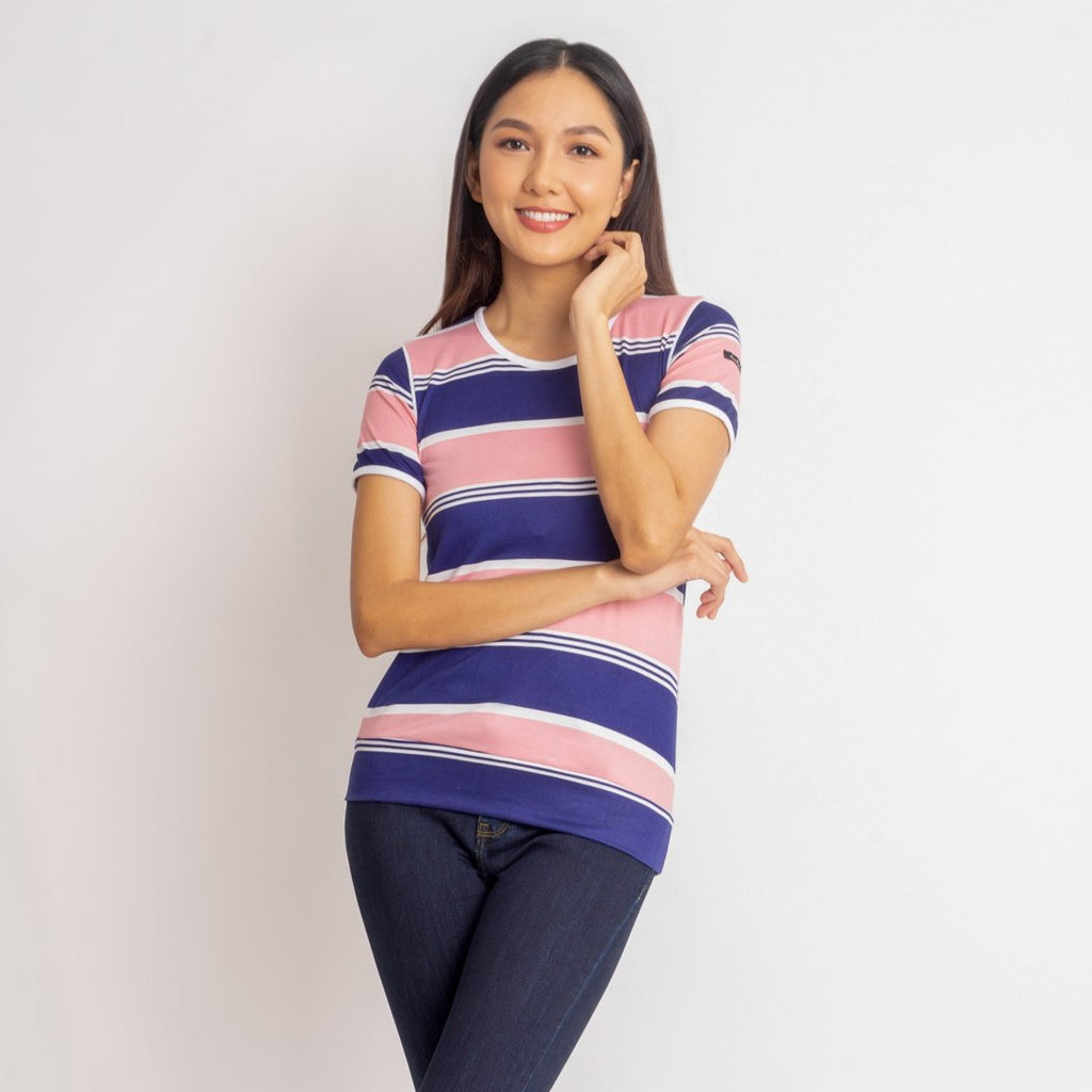 WT-MAISIE-PINK_NAVY-FRONT Shorts sleeves round neck tee with piping combi & hemband