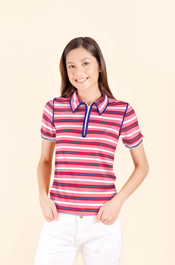 WT-MARIEL-FRONT-PINKSTRIPES Short sleeves collared tee with zipper on placket