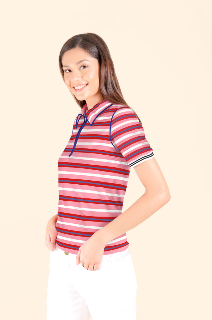 WT-MARIEL-PINKSTRIPES Short sleeves collared tee with zipper on placket