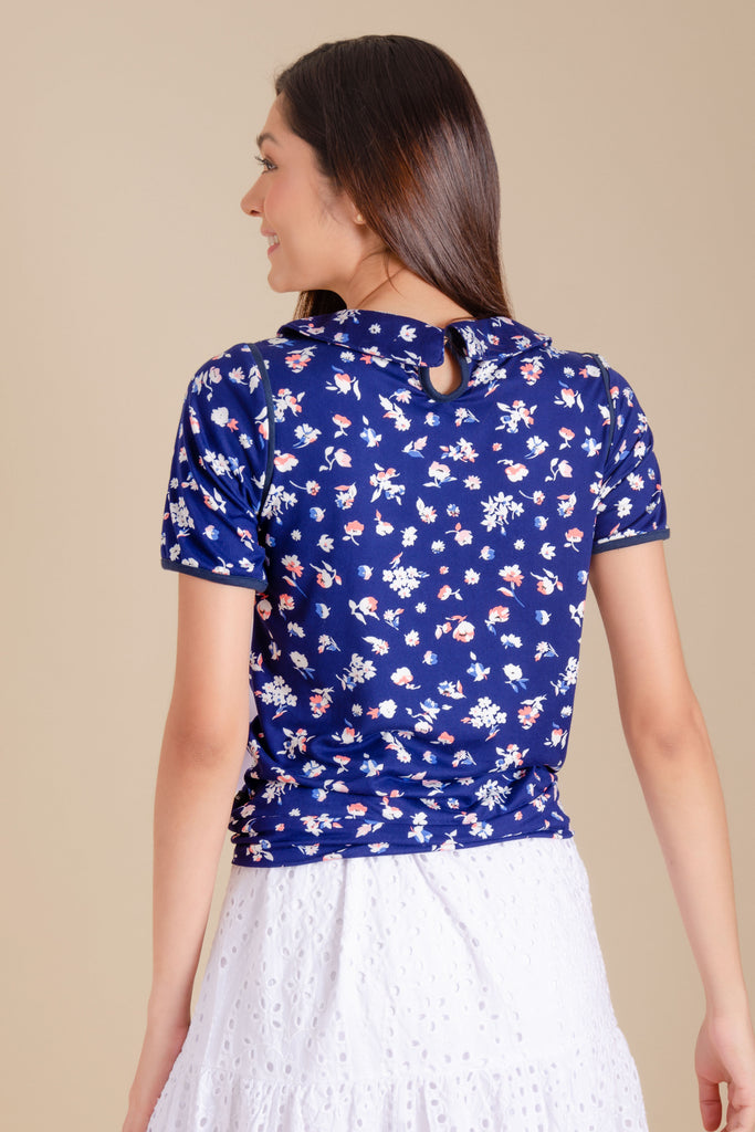 WT-PAULINE-NAVY-WHITE-BACK Short sleeves collared tee with combi