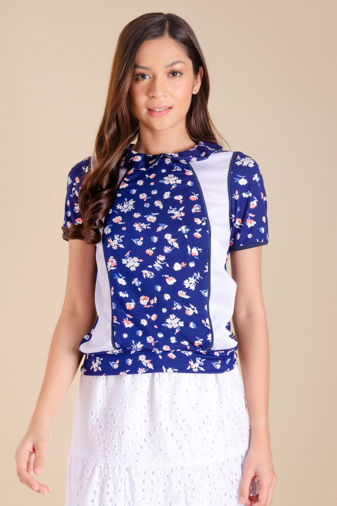 WT-PAULINE-NAVY-WHITE-FRONT Short sleeves collared tee with combi