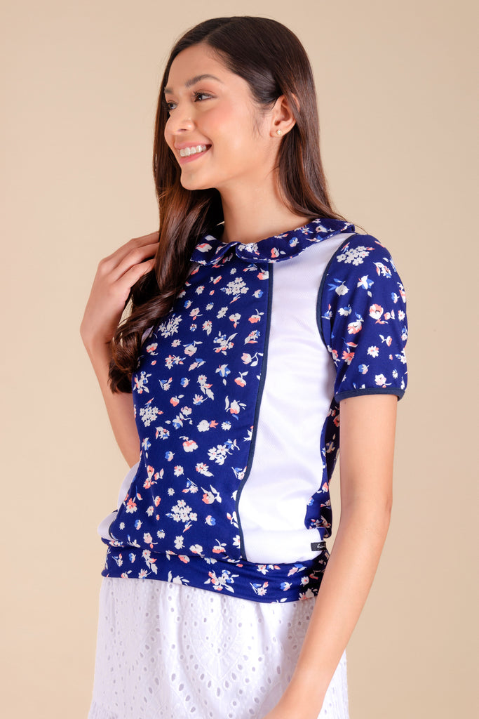 WT-PAULINE-NAVY-WHITE-SIDE Short sleeves collared tee with combi