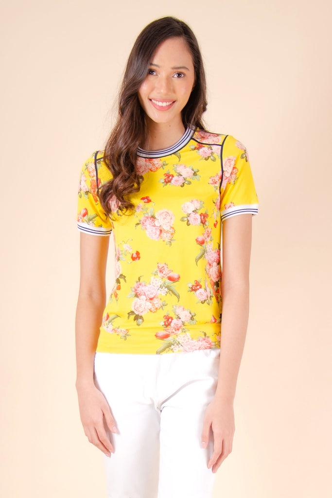 WT-RANNISE-YELLOW_FRONT Short sleeves round neck tee with hem band & ribbings on sleeves & neckline