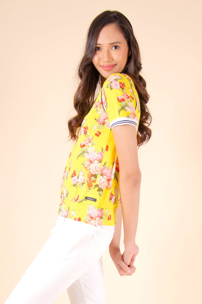 WT-RANNISE-YELLOW_SIDE2 Short sleeves round neck tee with hem band & ribbings on sleeves & neckline