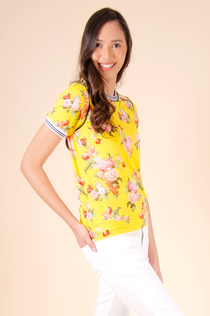 WT-RANNISE-YELLOW_SIDE Short sleeves round neck tee with hem band & ribbings on sleeves & neckline