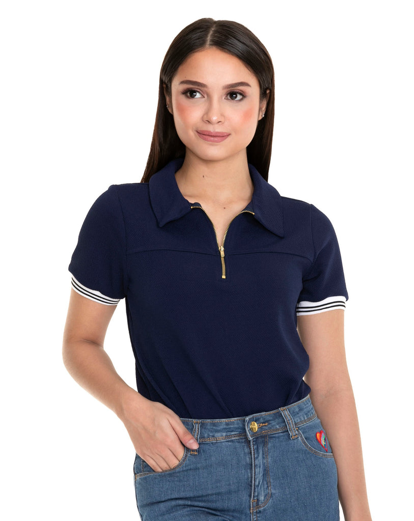 WT-REESE-NAVY Short - sleeves collared tee with zipper on placket and flatknit on sleeves