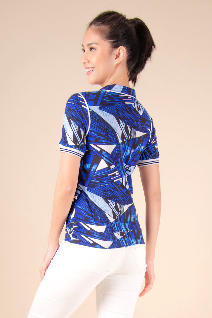 WT-REGIE-P.BLUE-BACK Short sleeves collared tee with zipper on placket and hem band