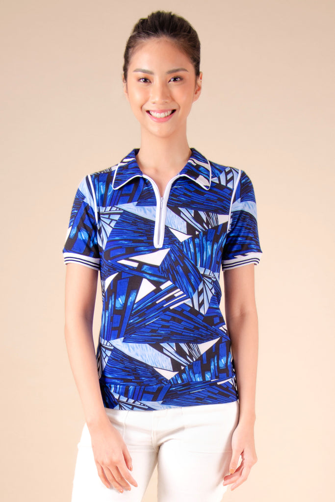 WT-REGIE-P.BLUE-FRONT Short sleeves collared tee with zipper on placket and hem band