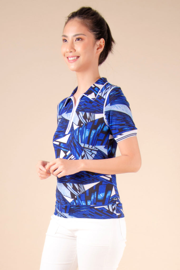 WT-REGIE-P.BLUE-SIDE Short sleeves collared tee with zipper on placket and hem band