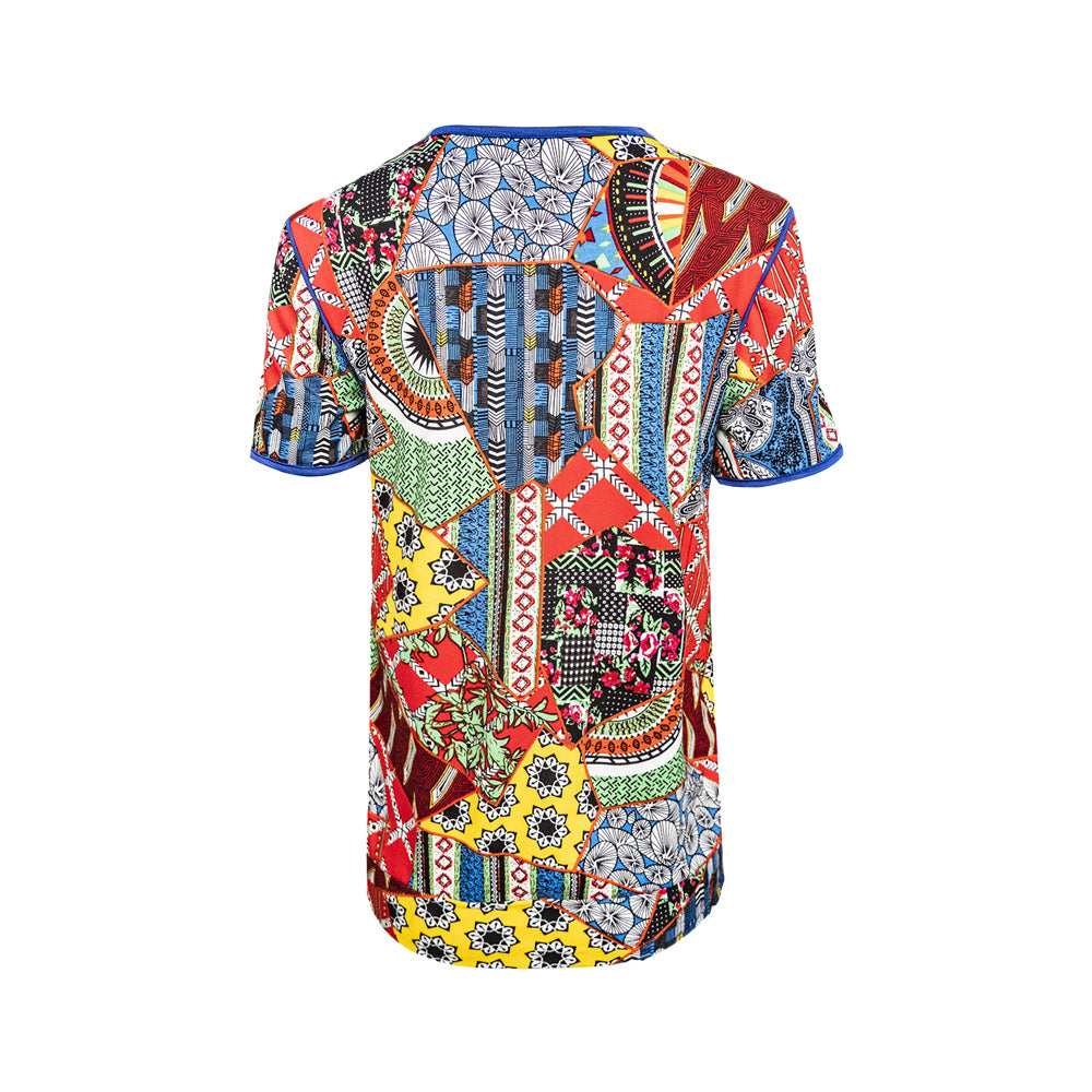 WT GWEN-MULTICOLORED-BACK Short sleeves round neck floral tee with piping combi and hemband