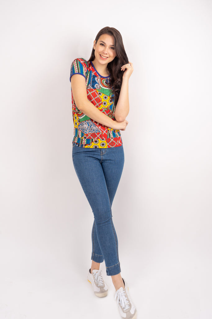 WT GWEN-MULTICOLORED-FRONT Short sleeves round neck floral tee with piping combi and hemband