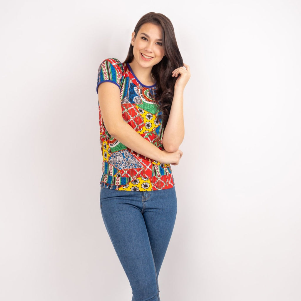 WT GWEN-MULTICOLORED FRONT-HALF Short sleeves round neck floral tee with piping combi and hemband