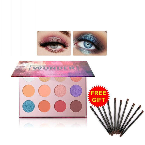 12-Color Glitter Eyeshadow Palette With Eye Brush Set Makeup Shimmer Matte Tslm2 10pc Eyeshadow Brush