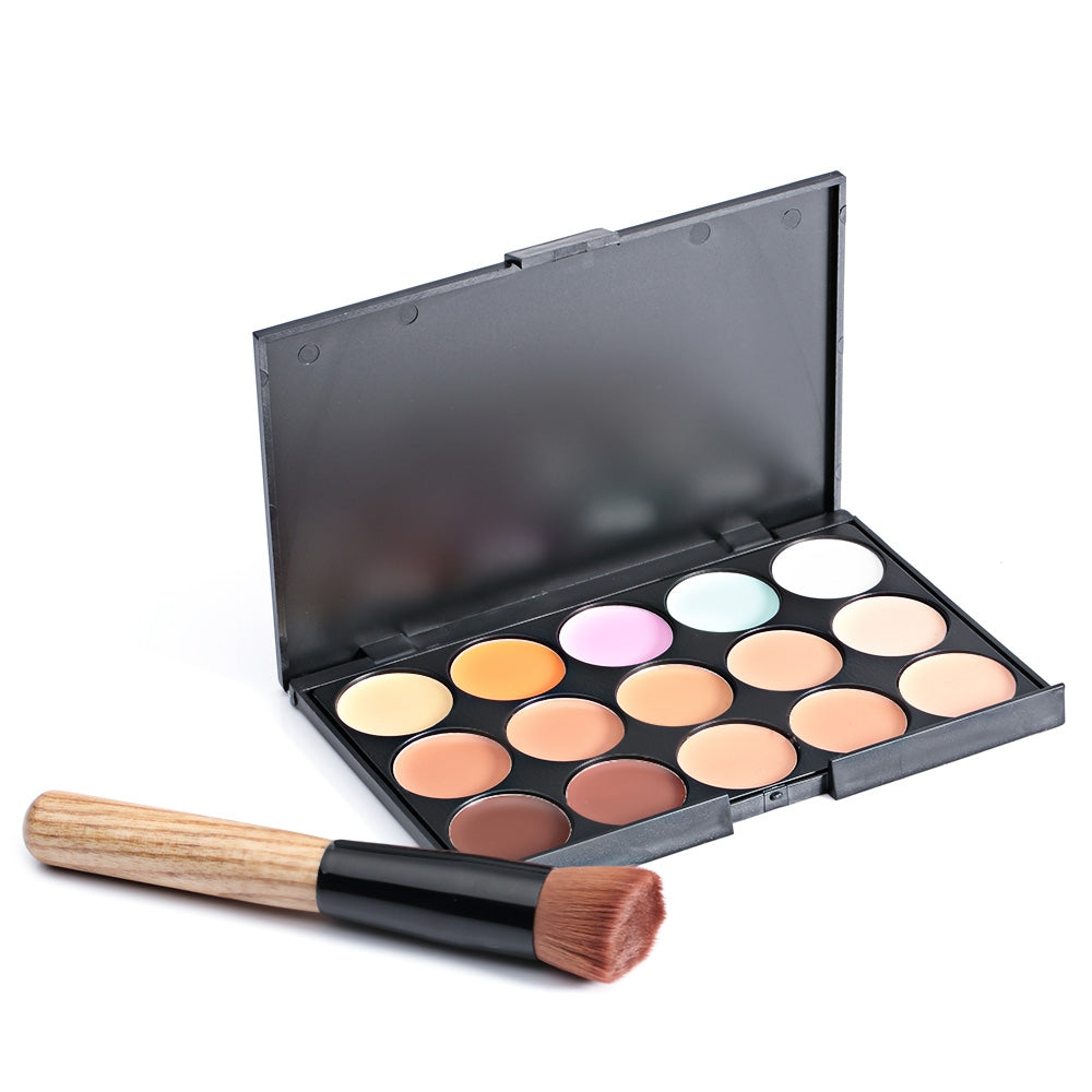 Cosmetic 15 Colors Matte Long-Lasting Concealer Camouflage Makeup Palette with Brush