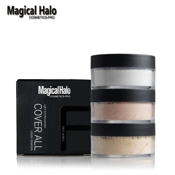 1pc Magical Halo Finishing Powder Matte Loose Powder Waterproof Brighten Concealer Oil-control Primer Setting Powder With Puff