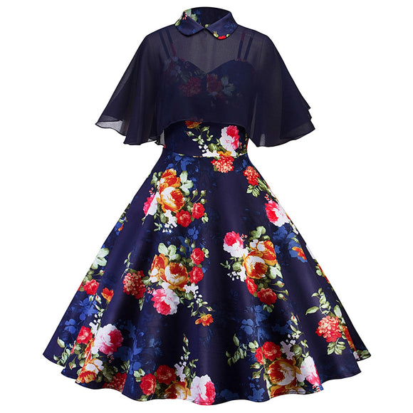 Vintage Floral Print Pin Up Dress With Cape - Xodey