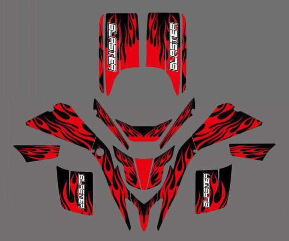 214 Fire Style Decals Stickers Graphics For Yamaha Blaster Yfs 200 1998-2006 Background Black Red Motorcycle Decal