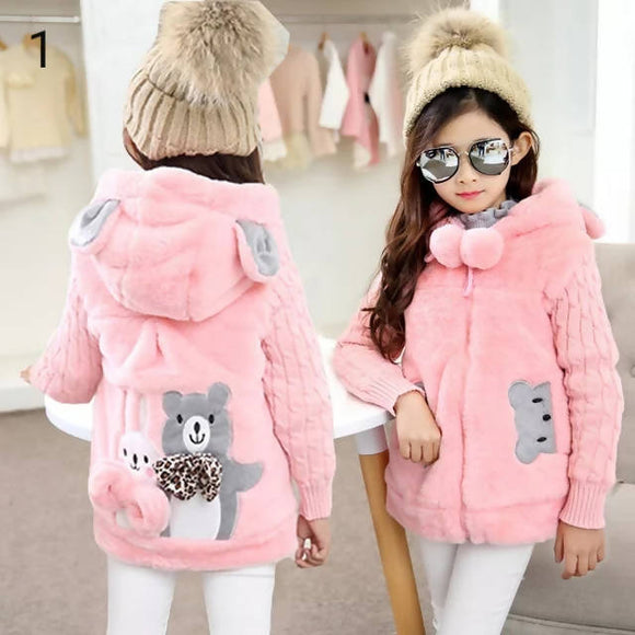New Autumn Winter Girls Coat Cotton Girls Jacket Thick Fake Fur Warm Jackets For Girls Clothes Coat Casual Hooded Kids