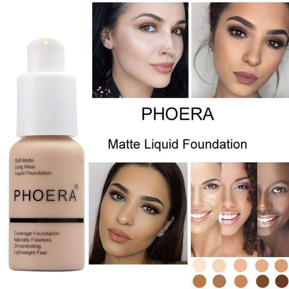 30Ml Phoera Face Makeup Base Liquid Foundation Matte Oil Control Concealer Easy To Wear Soft Carrying P &
