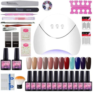 36W UV LED Gel Lamp Set For Nails Manicure Nail Polish Art Tools Kit Varnishes Extension Brushes