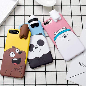 3D Cute Cartoon We Bare Bears Brothers Funny Toys Soft Phone Case For Iphone 5 5S 6 6S 7 8 Plus 10 X Xr Xs Max Cover Cases Coque Yellow Blue