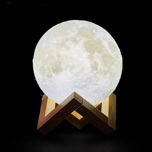 3D Print Rechargeable Moon Lamp Led Night Light Creative Touch Switch
