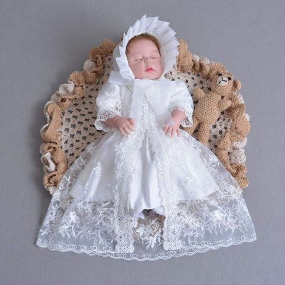 3Pcs Per Set Baby Girl Baptism Dress White Infant Christening Gown Lace Embroidered Cape Hat 0-24 Months