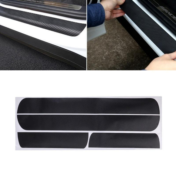 4 Pcs Car Door Scuff Sill Plates Step Plate Protector Carbon Sticker For Chevrolet Cruze Sedan