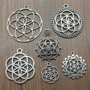 5Pcs/Lot Antique Silver Color The Flower Of Life Charms For Jewelry Making Seed Findings Diy