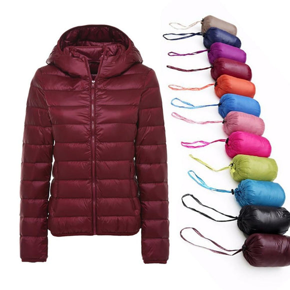 5XL 6XL 7XL Winter Women Ultra Light Duck Down Jacket Women Long Sleeve Jackets Warm Hooded Coat Parka Female Outwear Plus Size