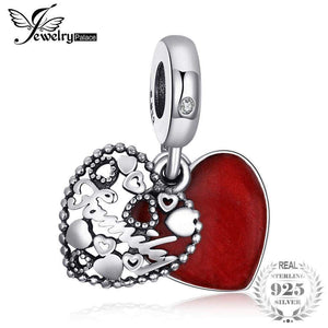 925 Sterling Silver Secret Admiration Red Enamel Beads Charms Fit Bracelets For Her Jewelry Present