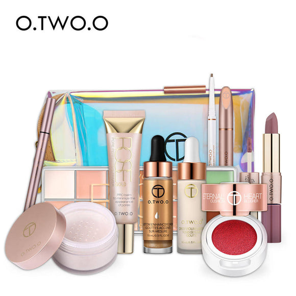 O.Two.O 11Pcs Makeup Set For Daily Use Include Highlighter Foundation Blusher Eyebrow Mascara Concealer Lipstick Women Gift