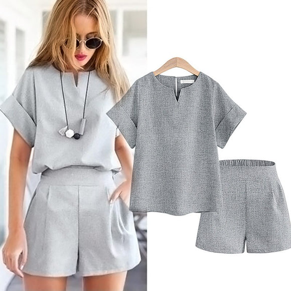 Casual Cotton Linen Two Piece Sets Women Summer V-Neck Short Sleeve Tops and Shorts Female Office Suits Set Women's Costumes
