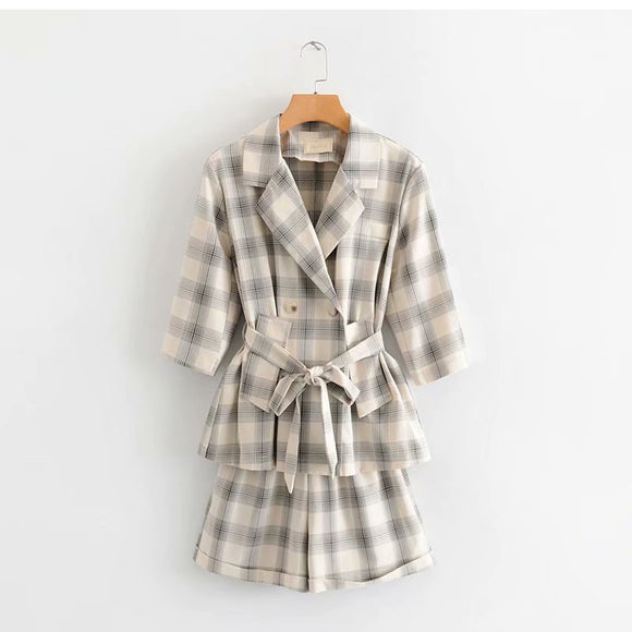 Two-piece retro plaid seven-point sleeve suit jacket high waist elastic wide-leg shorts 2019 summer new popular women's clothing