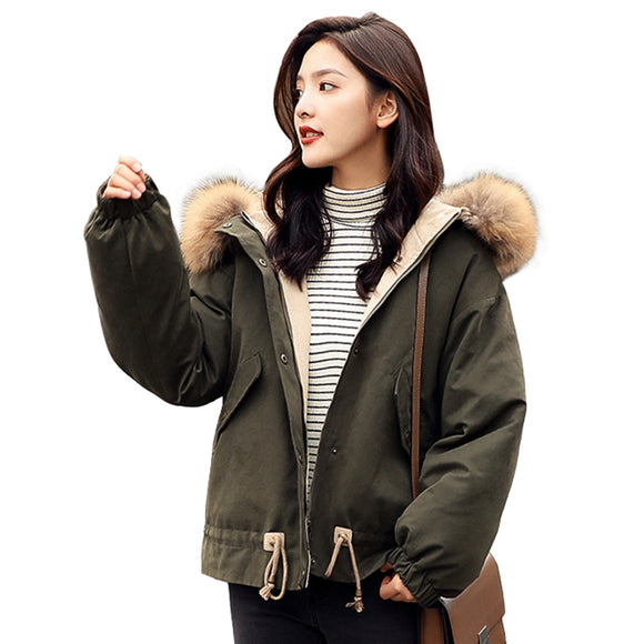 Women Hood Cotton Padded Coat Raccoon Fur Collar Bomber Jacket 2018 Winter New Fashion Loose Thickening Parka Plus Size PJ255