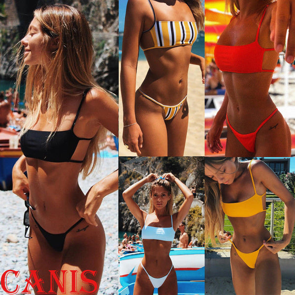9cf73b2650 Hirigin Sext Thong Bikini Set Women Swimwear Push Up Padded Brazilian Beachwear  Biquini Swimsuit Women Bathing