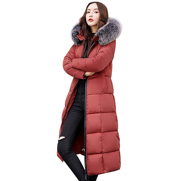2018 Fur Collar Plus Size 3XL Women Winter Coat Female Slim Hooded Outerwear Mujer Parka New Warm Long Down Cotton Jacket PJ231