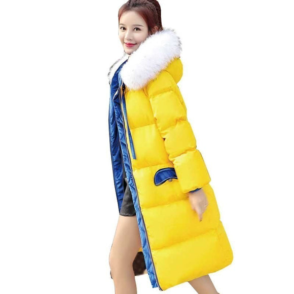 Parka Women Winter Coats Long Cotton Casual Fur Plus Size Jackets Warm Winter Parkas Female Overcoat Padded Women Coat Ls021