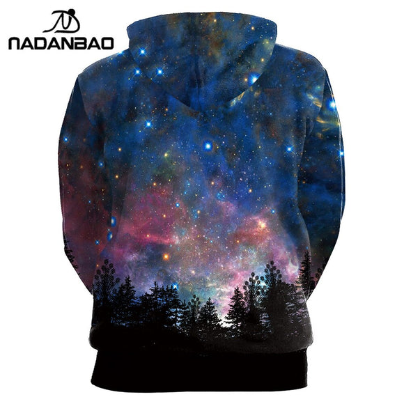 Nadanbao Style Hiphop Hoodies Galaxy Space 3D Printed Forest Cool Fashion Autumn Sweatshirt Thin Hooded Women Hoodie Bts Spandex - Xodey