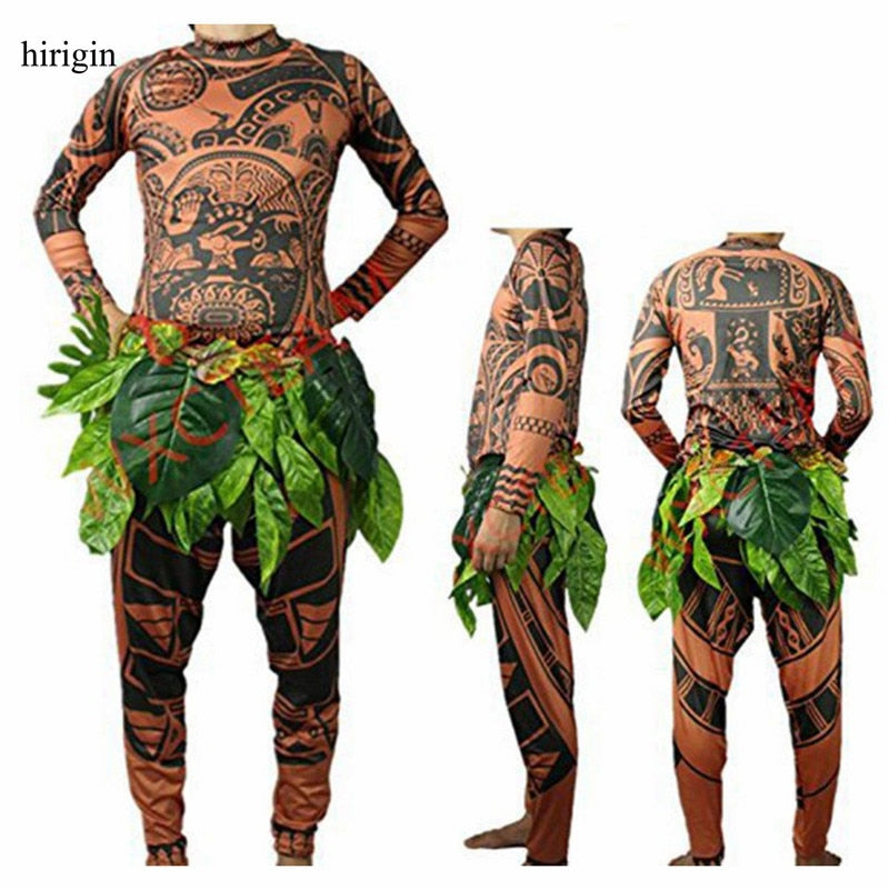 Moana Maui Tattoo T Shirt/Pants Halloween Adult Men's Women Cosplay Costumes With Leaves Decor Blattern Nylon - Xodeys.com