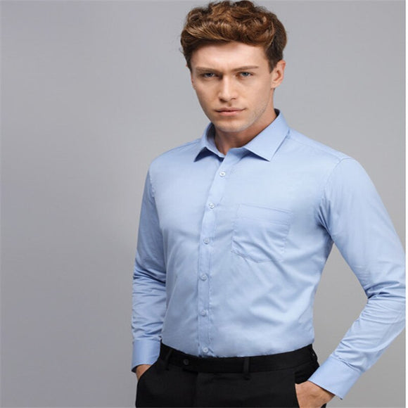 Men's Dress Shirt Long Sleeve Slim Men's Shirt Designer High Quality Solid Men's Clothing For Business Shirts 3Xl - Xodey.com