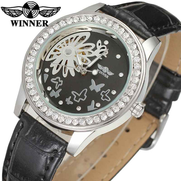 Winner Luxury Woman Mechanical Watch Ice Out Crystal Decoration Flower Butterfly Pattern Dial Elegant Style Ladies Wristwatch - Xodey.com