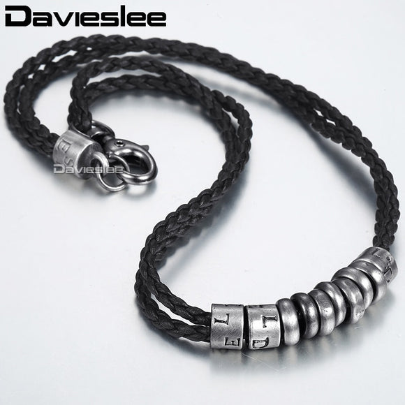 Stainless Steel Metal Surfer Man Made Leather Rope Men's Necklace Chain Fashion Gift Jewelry Lp100 - Xodey