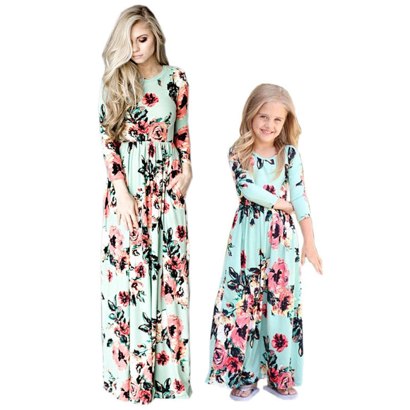 4 Color Mother Daughter Dresses Mvupp Casual Short Sleeve Mommy & Me Clothes Floral Print Family Matching Clothes Saias Mama - Xodey.com